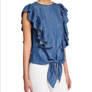 Frame Chambray Knotted Flutter Sleeve Top Size XS